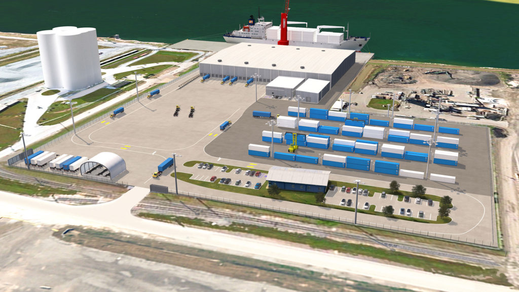 Rendering of the 134,000 square foot cold storage facility under construction at Port Tampa Bay by Port Logistics Refrigerated Services.